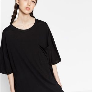 ZARA Black Oversized T-shirt Dress with Pocket